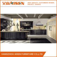 Luxury Island Kitchen Natural Solid Wood Kitchen Cabinet