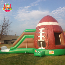 Rugby theme inflatable bouncer inflatable bounce jumping bouncy castle combo with slide for kids