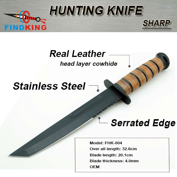 OEM stainless steel fixed blade survival knife with leather handle