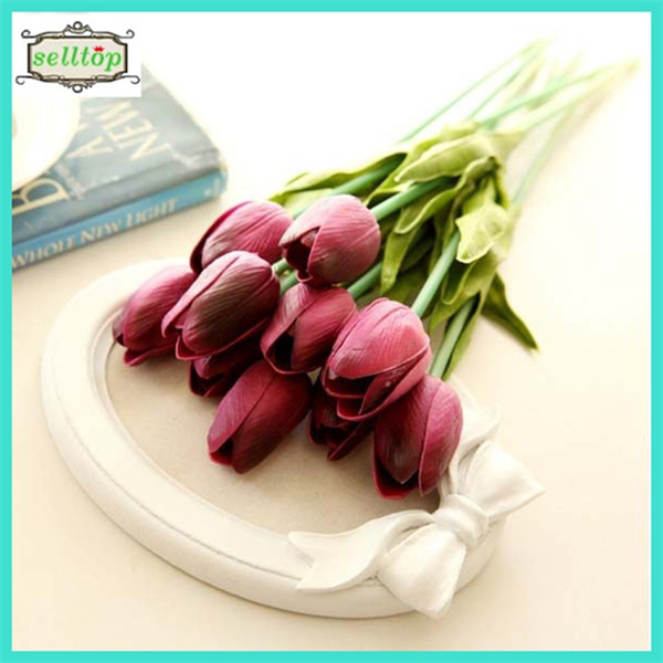 34cm mini pu real touch single stem artificial tulip