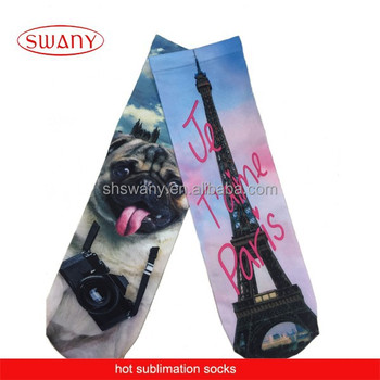 3D animal print sublimation socks/custom socks/ digital print socks