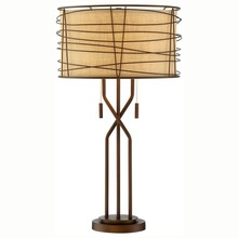Italian Burlap Woven Metal Construction Shade Table Lamp With Twin Pull Chains Decor For Restaurant Villa Living Room Office