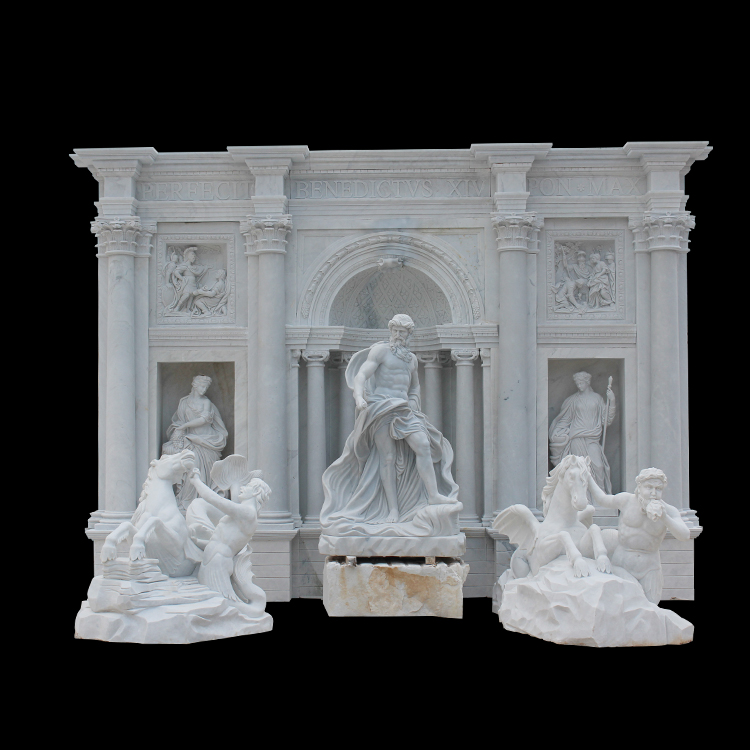 Outdoor Carving crafts big white marble art greek nude man fountain