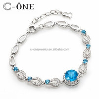 Vintage Sapphire Cubic Zircon 925 Sterling Silver Bracelet Hand Chian for Women
