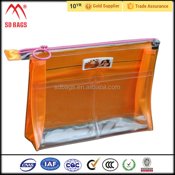 New arrival custom made plastic cosmetic bag , clear cosmetic pvc bag