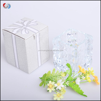 High Quality Machine Pressed Clear Glass Cube Candle holder and glass vase Promotional Glass Gift