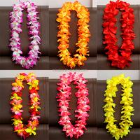 Fashion party favor decorative hawaiian wreath lei artificial flower head wreaths fabric christmas wreath