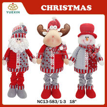 2014 Popular Color Red Gray Christmas Decoration Standing Santa Snowman and Reindeer