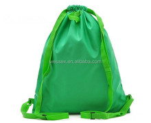 New Green Nylon Cinch Waterproof Shopping Bag Promotion Drawstring Backpack Bags High Quality School Backpack
