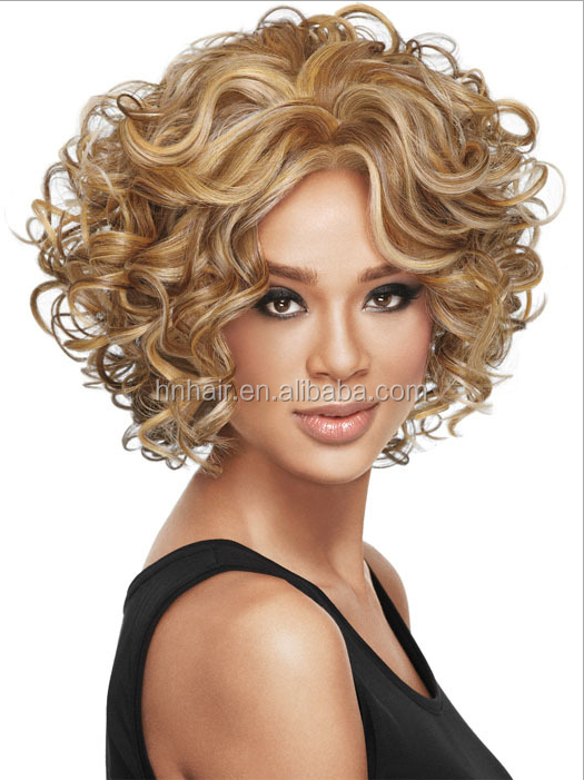 short synthetic wigs for black white african women top quality 4/27 color curly bob wig