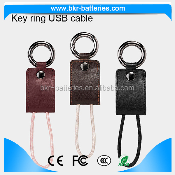 10cm length Leather keychain cotton braided charging and sync Cable for IOS smartphones