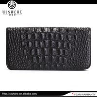 Wishche 2016 Wholesale Price Custom Made Designer Crocodile Clutch Purse Ladies Long Leather Wallet Manufacturer W5001