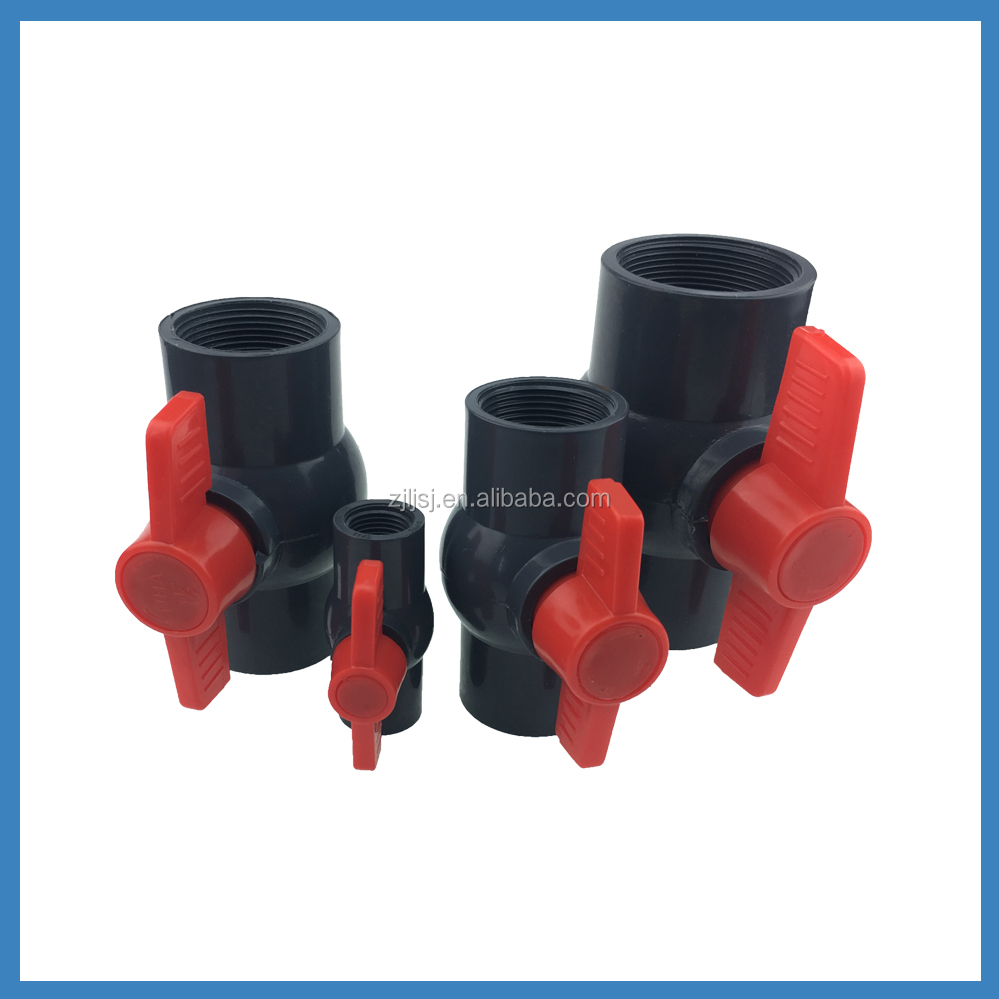 Mini Type PVC Water red handle ball Valve with Competitive Price