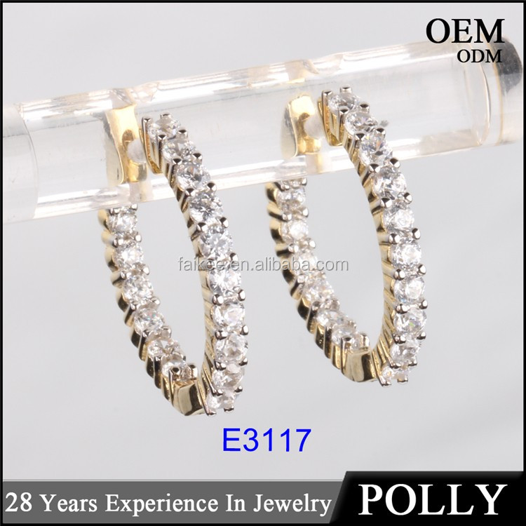 925 sterling sliver hip hop hoop earrings two tone 10k gold plating iced out