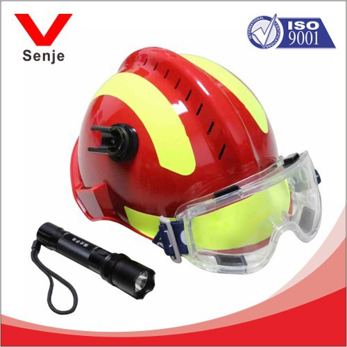 Red With Yellow Reflective Fire Rescue Helmets sales