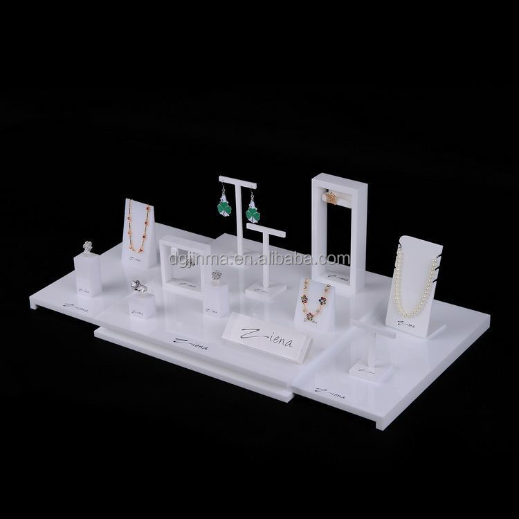 Modern white desktop organizer jewelry stand acrylic display