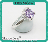Romatic 2015 Xmas children's gift silver 925 natural Amethyst woman unique wedding Ring