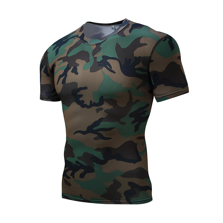 Custom Camo Polyester Gym T Shirts Mens Sport Fitness Wear