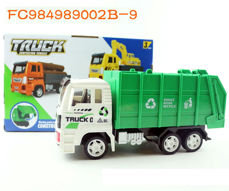 1:<strong>18</strong> Factory sale children small <strong>friction</strong> toy car with garbage can FC984989002B-9