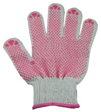NMSAFETY cotton liner pink PVC dotted gloves
