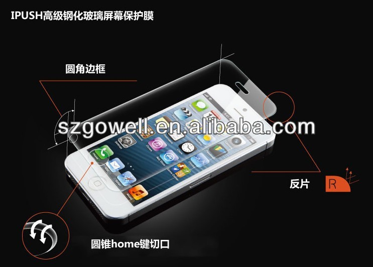 2014 new product made in China tempered glass reinforced screen protector for iphone 5 for samsung galaxy note mega