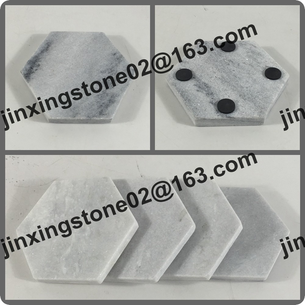 Factory Hot Sale Natural Stone Cup Mat Set of 4 Hexagon Grey Marble Coaster