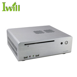 Horizontal mini itx thin client barebone system pc pure aluminum computer htpc case for home / office