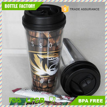 large double wall plastic insulated coffee mug with paper insert