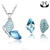Best Selling Fashion Crystal Butterfly Pendant Earring Jewelry Set Cheap Price Wholesale
