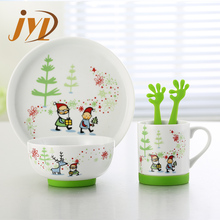 5pcs wholesale children porcelain child dinnerware set with silicone