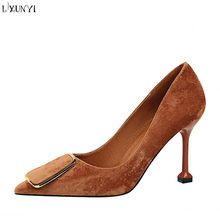 LXUNYI professional OL women's shoes high heels suede upper sexy metal belt buckle single shoes