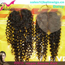 "Jerry Curl Virgin Peruvian Hair Lace Closure Piece With Middle Part (4""x4"") Accept Paypal"