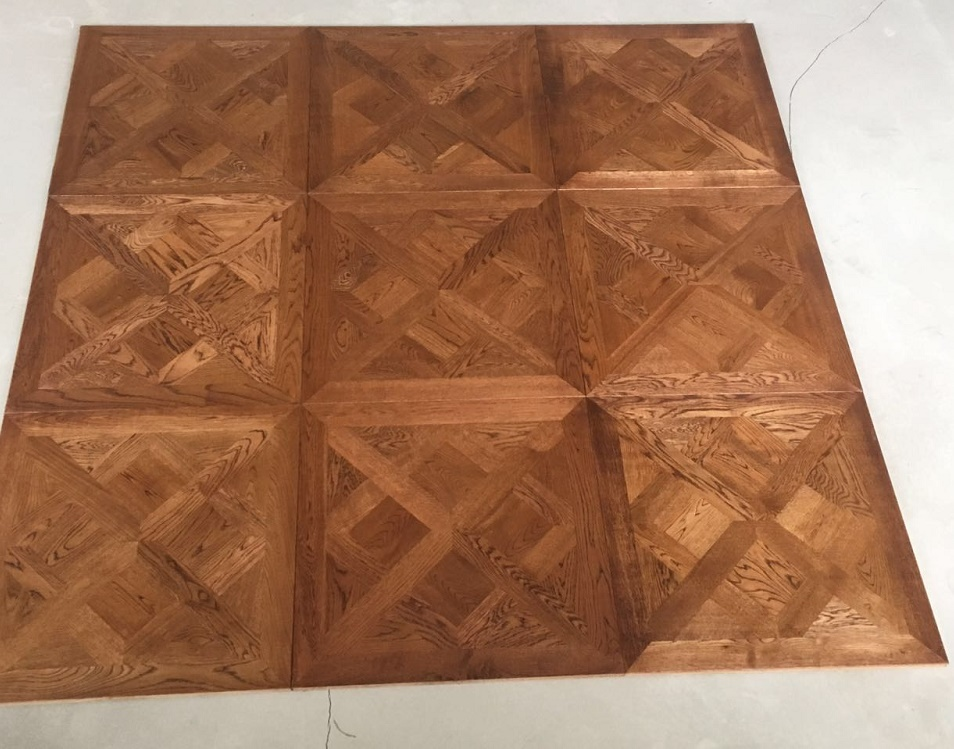 UV Oiled Finish Dark Oak Solid Versailles Parquet Flooring Tiles