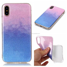 Wholesale IMD Soft Gradient Ramp Glitter Mobile TPU Phone Case for iPhone X
