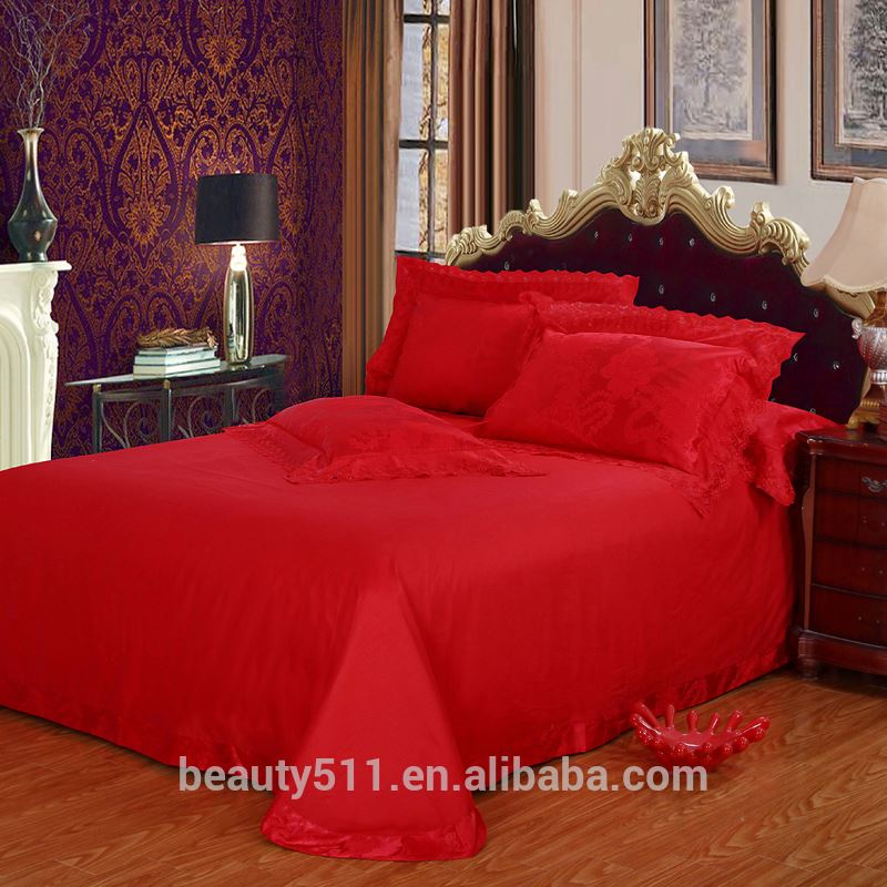 Luxury wedding bed sheet Tribute satin lace 4pcs bed sheet set hand embroidery bed sheet BSS23