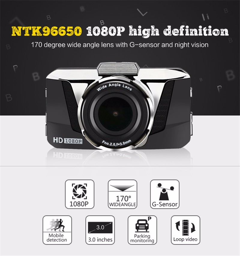 "2017 Latest 3.0"" Novatek NT96650 1080P Manual Car Camera HD DVR GT2000"