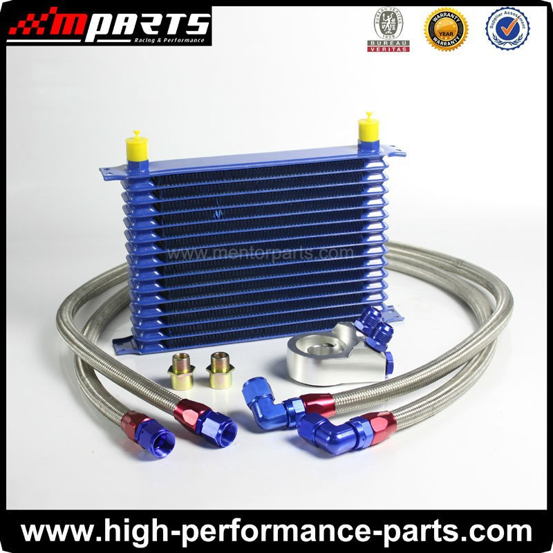 15 Row AN10 Universal Oil Cooler Kit with Adaptor Hose End