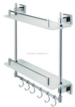 double tier wall mounted glass bathroom wall corner shelf