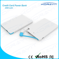 2500mah External Ultra Slim 6.6mm Credit Card Power Bank