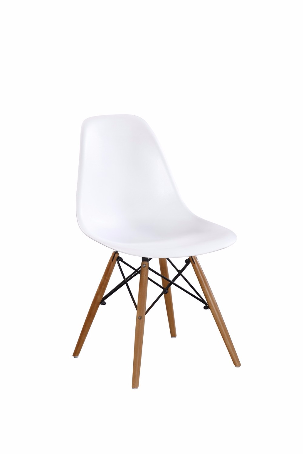 Comfortable white wooden oak leg plastic chair in living furniture