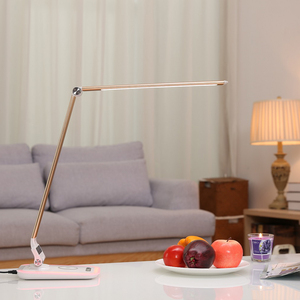 Modern led desk lamp with led light for eye protecting, wireless charging, USB output port