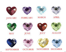 low MOQ heart birthstone floating charms