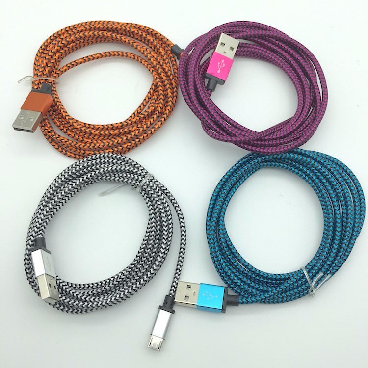 6.6ft/2m Nylon Braided Tangle-Free Micro USB <strong>Cable</strong> for Android for Samsung, HTC, Motorola, Nokia