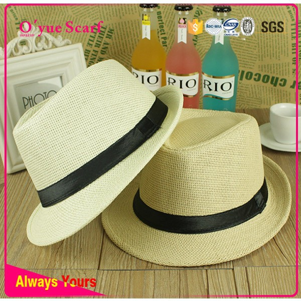 Wholesale Custom Logo Band Straw Fedora Hat