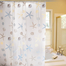 Beautiful Seastar and Shell Pattern Bathroom Shower Curtain With Hooks