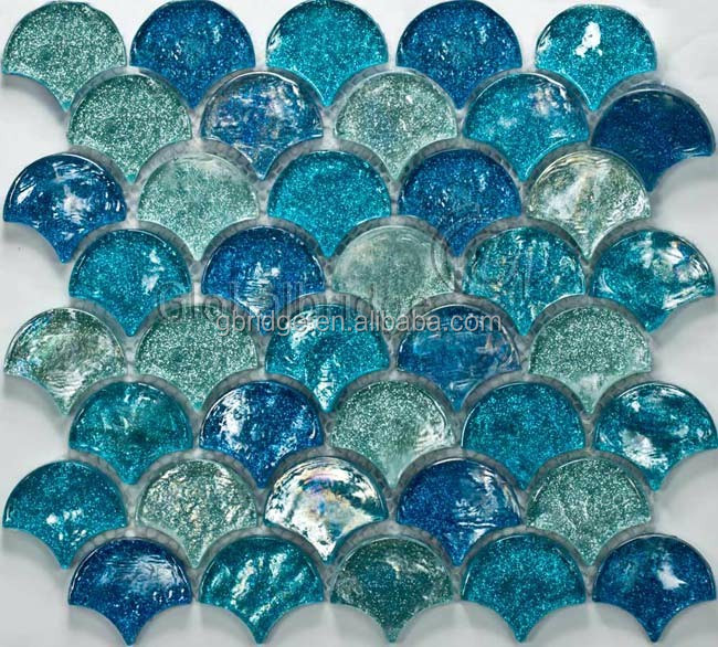 Fish shape blue Luster Glazed Mosaic for wall