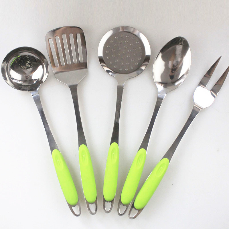 Stainless steel 5pcs/set spatula spoon kitchenware set with green plastic handle