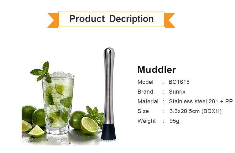 Wholesale Stainless Steel Colorful Cocktail Muddler