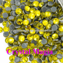 Citrine hot fix rhinestone fabric,cheap price crystal strass,rhinestone trimming material