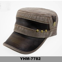 Wholesale men baseball cap washed denim sun shading army military cap